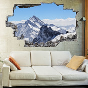 3D Broken Wall Mount Everest Wall Stickers 1097