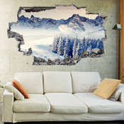 3D Broken Wall Mystic View of Mount Everest Wall Stickers 1098