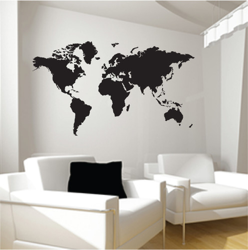 large world map wall sticker stickers wall. Black Bedroom Furniture Sets. Home Design Ideas