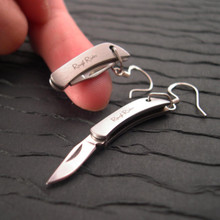 Folding knife earrings are totally cool gadgets you can wear, the sharpest functional jewelry around.