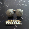 "Star Wars ""YOU Belong on the Dark Side"" Death Star Cufflinks are a rare collectors item turned into fashionable men's accessories."