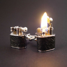 Vintage Style Working Lighter Cufflinks are hand wrapped in black leather