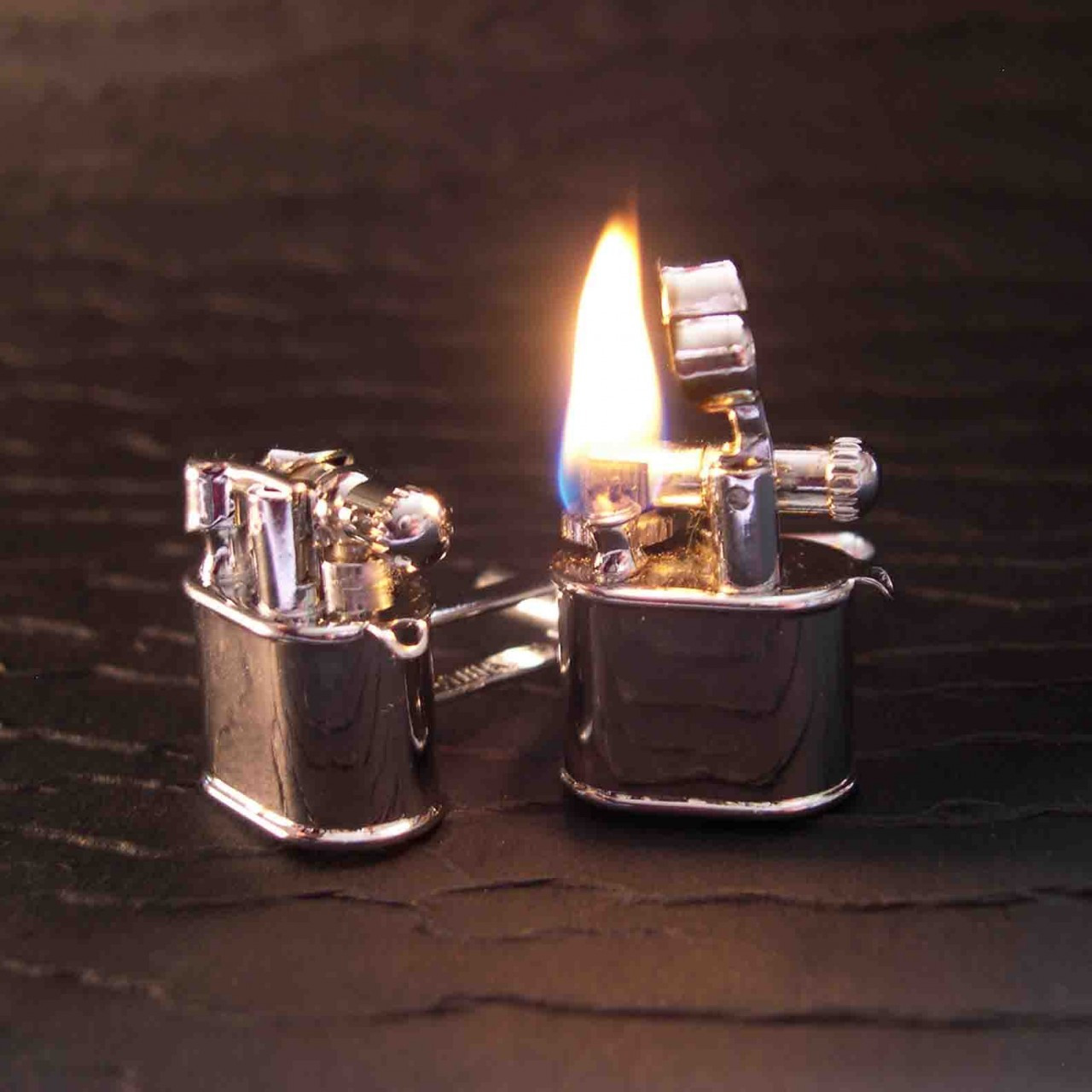 Working Vintage Era Lighter Cufflinks Spy gear tools you