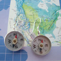 Where are YOU? - Metal and Glass Compass Earrings