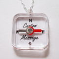 Clear Square Compass Necklace