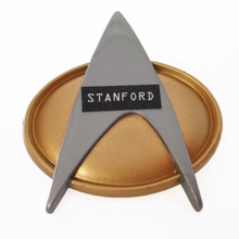 Personalized Star Trek The Next Generation pin made out of a recycled toy playstand