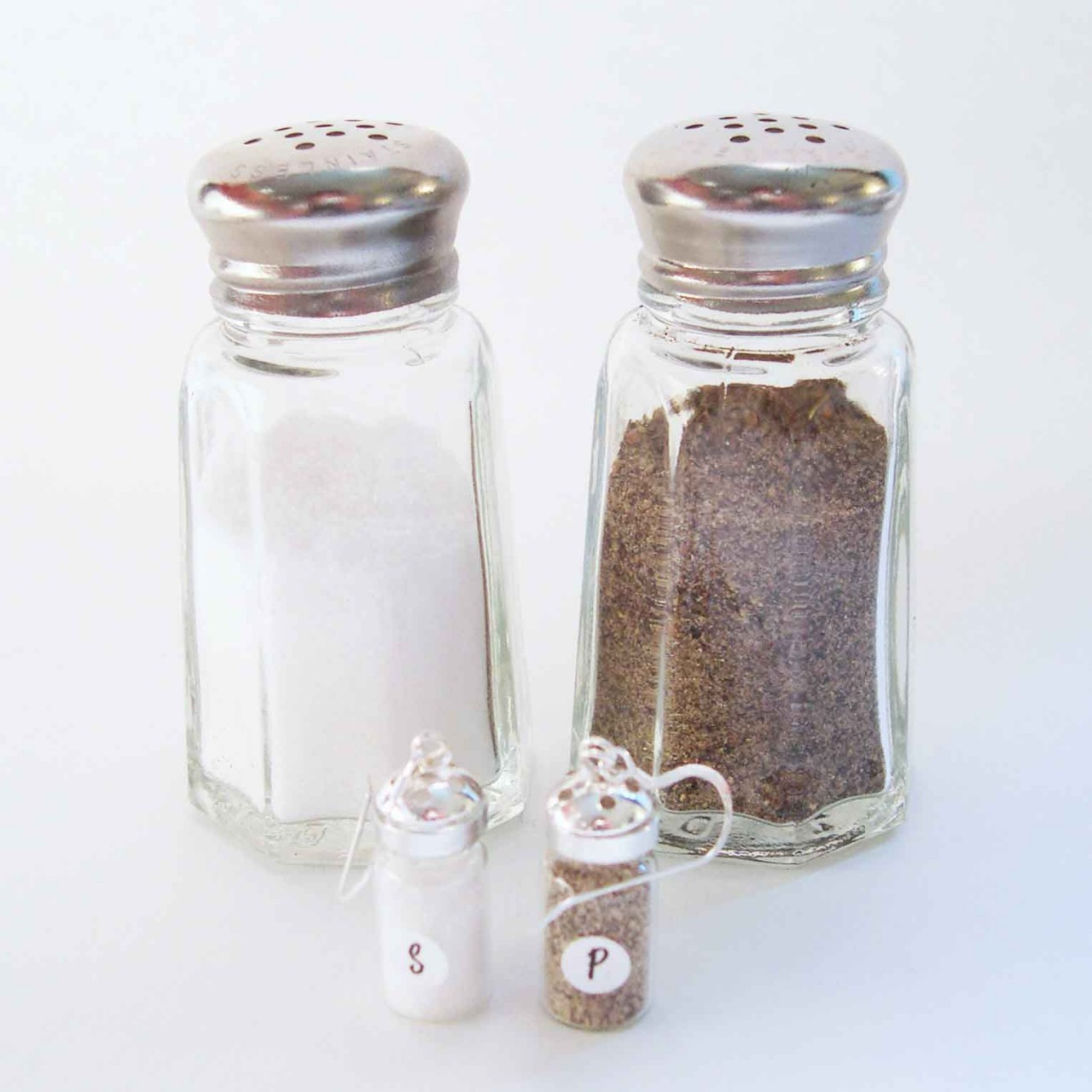 mini salt and pepper shakers earrings. Black Bedroom Furniture Sets. Home Design Ideas