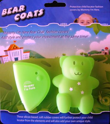 Green bear coat in packaging