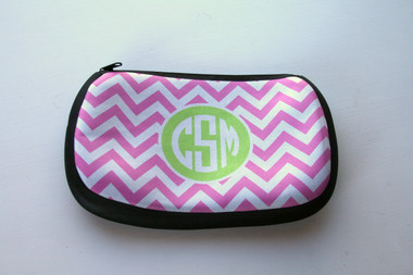 Monogrammed Custom Cosmetic Make Up Bag  www.tinytulip.com Lilly Pink Chevron with Solid Circle Lime Green Circle Font
