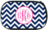 Monogrammed Custom Cosmetic Make Up Bag  www.tinytulip.com Navy Chevron with Hollow Circle Hot Pink Emma Font