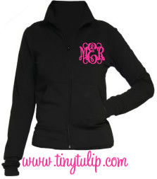 Monogrammed Yoga Work Out Jacket  www.tinytulip.com Hot Pink Interlocking Font
