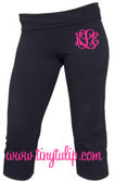 Monogrammed Capri Yoga Work Out Pants  www.tinytulip.com Hot Pink Interlocking Font