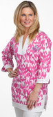 Monogrammed Trimmed Tunic Swimsuit Cover Up   www.tinytulip.com Hot Pink Ikat with Navy Monogram
