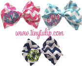 Chevron Print Cotton Monogrammed Hair Bow  www.tinytulip.com
