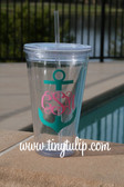 Monogrammed Anchor Insulated Acrylic Straw Cup  www.tinytulip.com Clear Tumbler with Teal Anchor Pink Interlocking Monogram