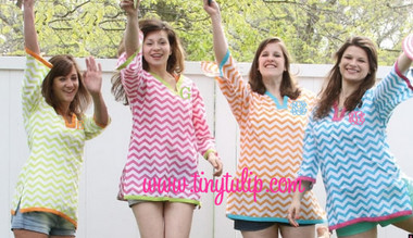 Monogrammed Chevron Tunic Shirt Swimsuit Cover Up  www.tinytulip.com