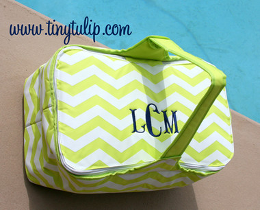 Chevron Picnic Basket Mongrammed  www.tinytulip.com Lime Green with Navy Fishtail Font
