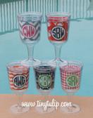 Monogrammed Acrylic Designer Wine Glass  www.tinytulip.com