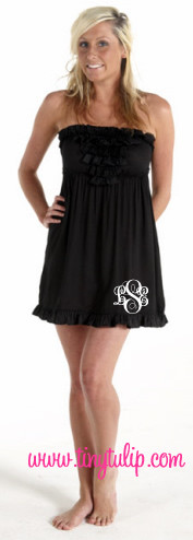 Monogrammed Ruffle Strapless Swimsuit Cover Up  www.tinytulip.com White Emma Font