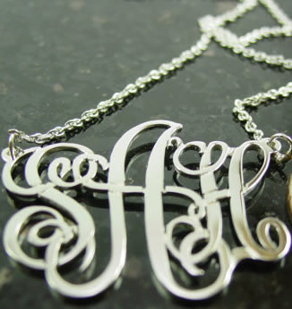Sterling Silver Emma Font Monogrammed Necklace  www.tinytulip.com
