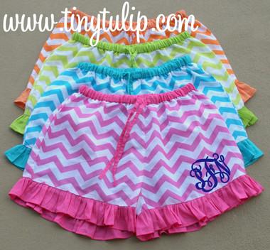 Monogrammed Chevron Ruffle Lounge Shorts  www.tinytulip.com