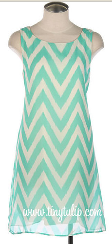 Mint Chevron Print Sleeveless Shift Dress   www.tinytulip.com