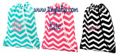 Monogrammed Chevron Drawstring Gym Backpack  www.tinytulip.com