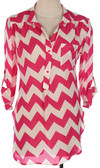 Chevron Button Down 3/4 Sleeve Blouse www.tinytulip.com Hot Pink