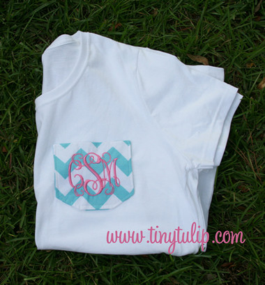 Monogrammed Chevron Pocket TShirt  www.tinytulip.com Aqua Chevron Pocket with Preppy Pink Interlocking Font