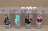 Monogrammed Nautical Decal Cups  www.tinytulip.com