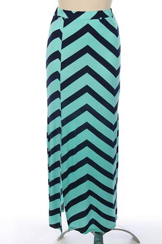 Mint Navy Chevron Maxi Skirt Free Shipping www.tinytulip.com