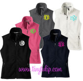 Monogrammed Ladies Full Zip Fleece Vest   www.tinytulip.com