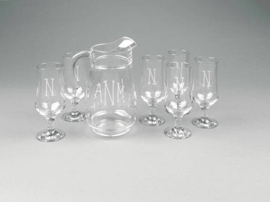 Monogrammed 7 Piece Engraved Ocean Isle Pitcher Set www.tinytulip.com