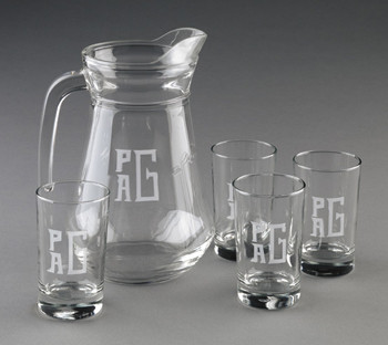 Monogrammed Outspan  5 Piece Engraved Juice Set   www.tinytulip.com