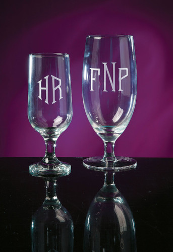 Monogrammed 10 ounce Pedestal Beverage Glass Engraved www.tinytulip.com