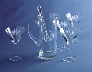 Monogrammed 6 Piece Engraved Martini Set www.tinytulip.com