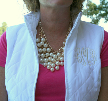 Monogrammed Quilted Vest www.tinytulip.com