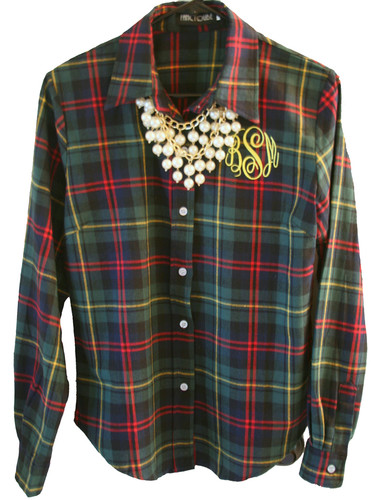 Monogrammed Ladies Plaid Flannel Shirt www.tinytulip.com Green, Navy Blue, Red & Yellow