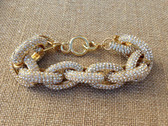 Gold Plated Classic Pave Chain Link Rhinestone Bracelet  www.tinytulip.com