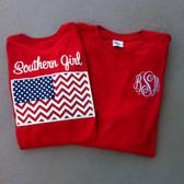 Monogrammed Southern Girl Chevron Flag Tshirt www.tinytulip.com
