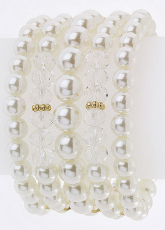 Stacked Pearl and Crystal Bracelet   www,tinytulip.com