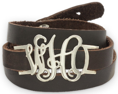 Sterling Silver Monogram Leather Wrap Bracelet  www.tinytulip.com
