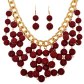 Garnet Beaded Bib Chain Necklace and Earring Set www.tinytulp.com