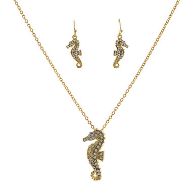 Gold Tone Seahorse Necklace and Earring Set www.tinytulip.com