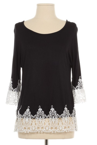 Crochet Lace Trim Black Shirt www.tinytulip.com