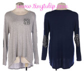 Monogrammed Sequin Elbow Patch Shirt www.tinytulip.com
