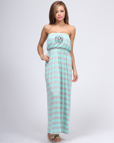 Monogrammed Strapless Stripe Tube Top Maxi Dress