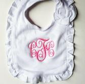 Monogrammed Ruffle Bib  www.tinytulip.com Hot Pink Emma Font