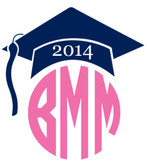 Grad Monogram Navy Hat with Bubble Gum Pink Circle Font
