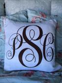 Monogrammed White Decorative Pillow